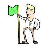 Comic cartoon man planting flag Stock Images