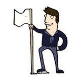 Comic cartoon man planting flag Royalty Free Stock Images