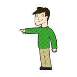Comic cartoon man pointing. Retro comic book style cartoon man pointing Royalty Free Stock Photo