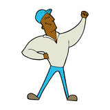 Comic cartoon man striking heroic pose Royalty Free Stock Photography