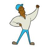 comic cartoon man striking heroic pose Royalty Free Stock Photography