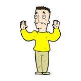 Comic cartoon man surrendering Royalty Free Stock Images
