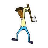 comic cartoon man swinging axe Royalty Free Stock Images