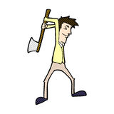 comic cartoon man swinging axe Stock Photo