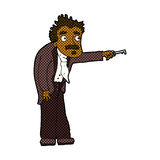 Comic cartoon man trembling with key unlocking. Retro comic book style cartoon man trembling with key unlocking Stock Photography
