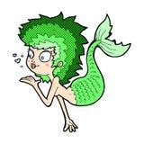 Comic cartoon mermaid blowing a kiss Royalty Free Stock Photography