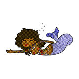 Comic cartoon mermaid with tattoos Stock Photo