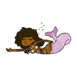 Comic cartoon mermaid with tattoos Royalty Free Stock Images