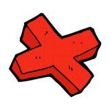 Comic cartoon negative cross symbol Stock Images