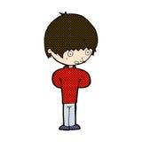 comic cartoon nervous boy Stock Image