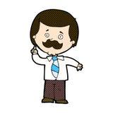 Comic cartoon newsreader man with idea Stock Photos