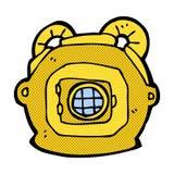 Comic cartoon old deep sea diver helmet Stock Photos