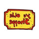 comic cartoon old fake shop sign Royalty Free Stock Image