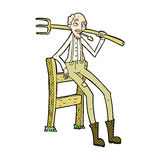comic cartoon old farmer leaning on fence Stock Images