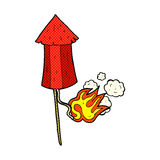 Comic cartoon old firework rocket Stock Image