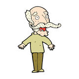 Comic cartoon old man gasping in surprise Royalty Free Stock Photography