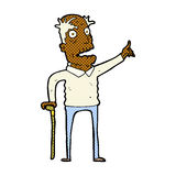 Comic cartoon old man with walking stick Royalty Free Stock Image