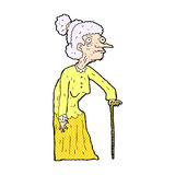 Comic cartoon old woman. Retro comic book style cartoon old woman Stock Photo