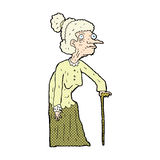Comic cartoon old woman. Retro comic book style cartoon old woman Royalty Free Stock Photography