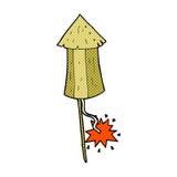 Comic cartoon old wood rocket Stock Photo