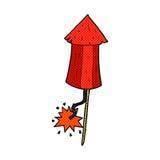 Comic cartoon old wood rocket Stock Photos