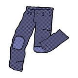 Comic cartoon patched old jeans Royalty Free Stock Image