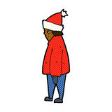 Comic cartoon person in winter clothes Stock Photography