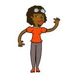 comic cartoon pilot woman waving Stock Image