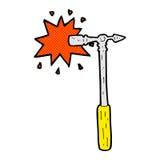 Comic cartoon pin hammer Stock Photo