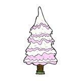 comic cartoon pink snowy tree Royalty Free Stock Photo