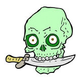 Comic cartoon pirate skull with knife in teeth Stock Images