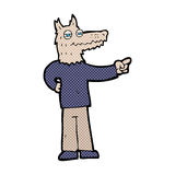 Comic cartoon pointing wolf man Stock Photography