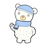 comic cartoon polar bear in winter hat and scarf Stock Photography