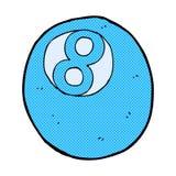 Comic cartoon pool ball. Retro comic book style cartoon pool ball Stock Photography