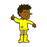 Comic cartoon poor boy with positive attitude Stock Photography