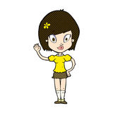 Comic cartoon pretty girl waving Stock Photo