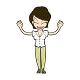 Comic cartoon pretty woman with hands in air Royalty Free Stock Photos