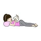 Comic cartoon pretty woman reading book. Retro comic book style cartoon pretty woman reading book stock illustration