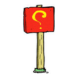 comic cartoon question mark sign post Stock Images
