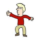 comic cartoon reaching man Stock Images