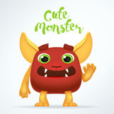 Comic Cartoon red creature character with cute monster lettering. Fun mutant isolated on light background. Royalty Free Stock Image