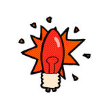 Comic cartoon red light bulb Stock Images