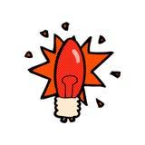Comic cartoon red light bulb Stock Images