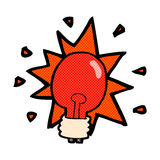 Comic cartoon red light bulb Royalty Free Stock Photography