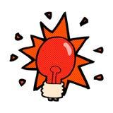 Comic cartoon red light bulb Royalty Free Stock Photography