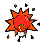 Comic cartoon red light bulb Royalty Free Stock Image