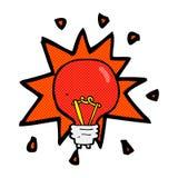 Comic cartoon red light bulb Royalty Free Stock Image