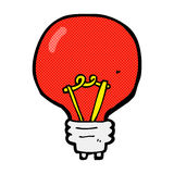 comic cartoon red light bulb Royalty Free Stock Photo