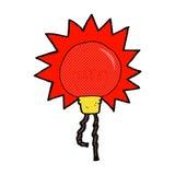 Comic cartoon red light bulb Stock Photography