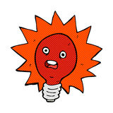 comic cartoon red lightbulb Stock Photos